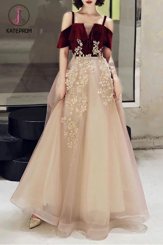 Kateprom A Line Straps Tulle Prom Dress with Appliques, Floor Length Short Sleeves Party Dresses KPP1143
