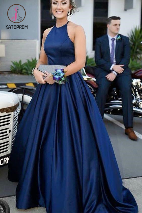 Kateprom Blue Halter Satin Sleeveless Prom Dress, A Line Simple Long Formal Dresses KPP1144