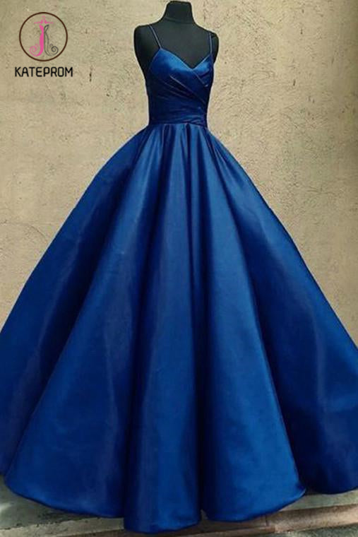 Kateprom Ball Gown Spaghetti Straps Satin Floor Length Prom Dresses, Long Quinceanera Dresses KPP1165