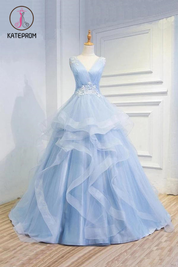 Kateprom Puffy V Neck Sleeveless Tulle Prom Dress with Appliques, Long Quinceanera Dress KPP1175