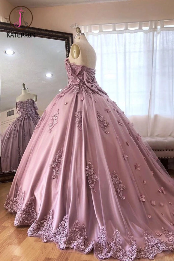 Kateprom Ball Gown Off the Shoulder Tulle Quinceanera Dress with Lace Appliques, Puffy Prom Dress KPP1178
