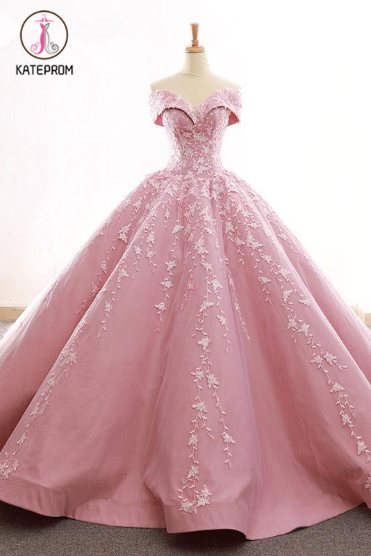 Kateprom Ball Gown Off the Shoulder Satin Prom Dress with Lace Appliques, Long Quinceanera Dress KPP1179