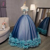 Kateprom Blue Ball Gown V Neck Sleeveless Appliqued Tulle Prom Dress, Hot Quinceanera Dresses KPP1181