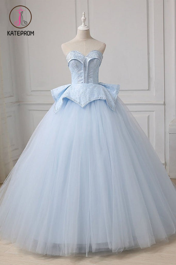 Kateprom Light Blue Sweetheart Ball Gown Beading Tulle Prom Dress, Sweep Train Quinceanera Dress KPP1183