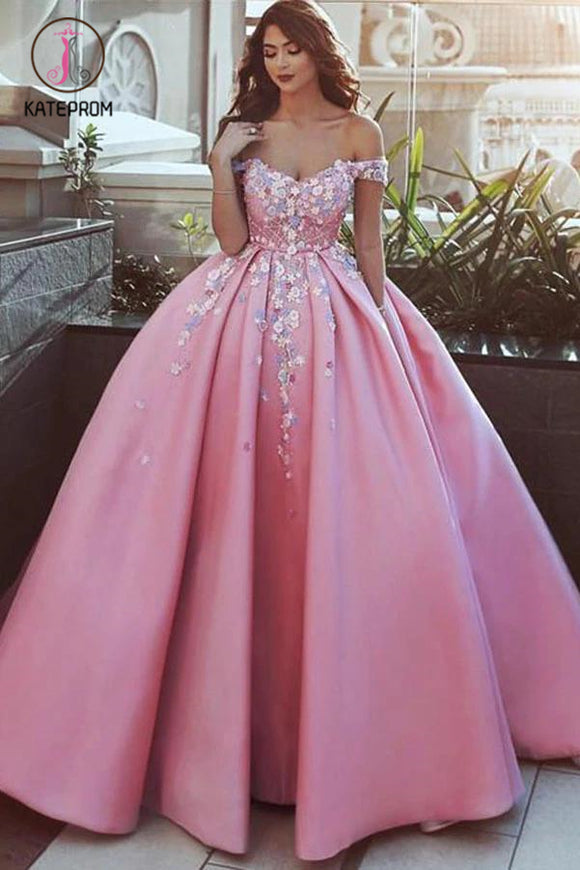 Kateprom Ball Gown Off the Shoulder Appliqued Satin Long Quinceanera Dresses, Puffy Long Prom Dress KPP1198
