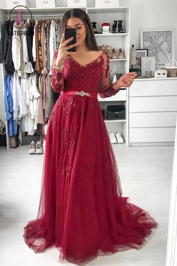 Kateprom Burgundy V Neck Long Sleeves A Line Appliqued Tulle Prom Dress with Beading Belt KPP1200