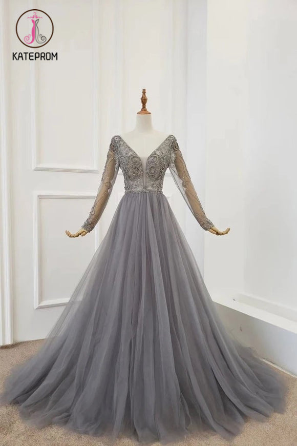 Kateprom A Line V Neck Long Sleeves Tulle Gray Prom Dress with Beading, Cheap Party Dresses KPP1210