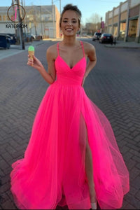 Kateprom Spaghetti Straps Tulle Prom Dress, Floor Length V Neck Split Party Dresses KPP1216