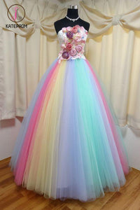Kateprom Floor Length Strapless Ball Gown Party Dress, Unique Prom Dress with Flowers KPP1224