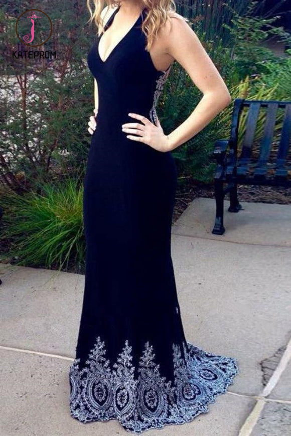 Kateprom Dark Navy Blue Mermaid Prom Dresses with Appliques, Charming Long Formal Dresses KPP1244