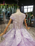 Kateprom Lilac Ball Gown Short Sleeve Prom Dresses with Flowers, Gorgeous Quinceanera Dress KPP1250