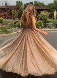 Kateprom A-Line Open Back Gold Sequins Champagne Prom Dresses 2020 Fashion Evening Dresses KPP1126