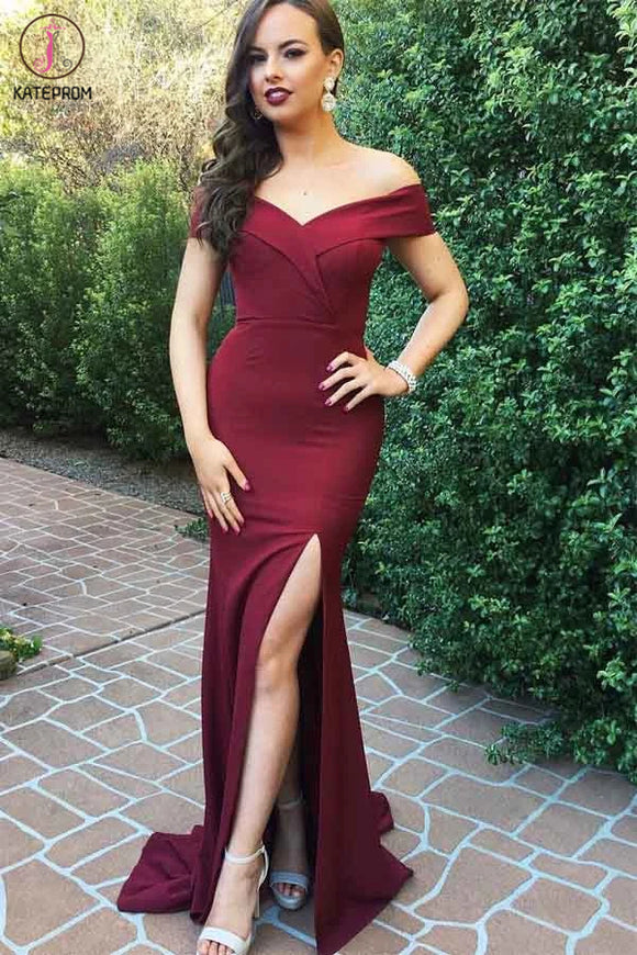 Kateprom Off The Shoulder Burgundy Satin Long Prom Dresses With Slit KPP1259