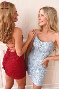 Kateprom Tie Back Appliqued Sheath Burgundy Blue Pink Short Prom Dress Homecoming Dress KPH0492