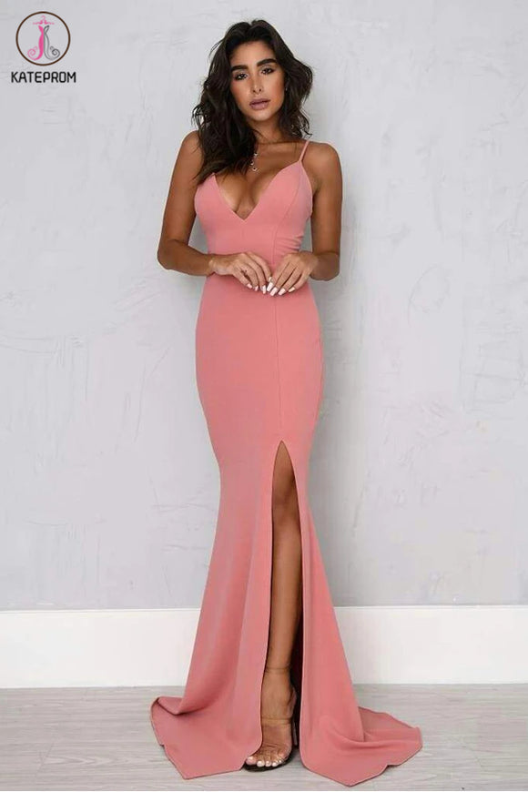 Kateprom Sexy Sheath Split Spaghetti Straps Mermaid Prom/Formal Dress KPP1252