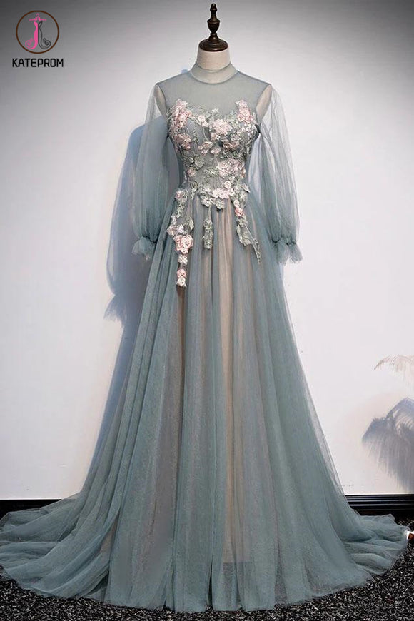 Kateprom A Line Long Sleeves Tulle Prom Dress with Flowers, Unique Long Evening Dress with Applique KPP1273