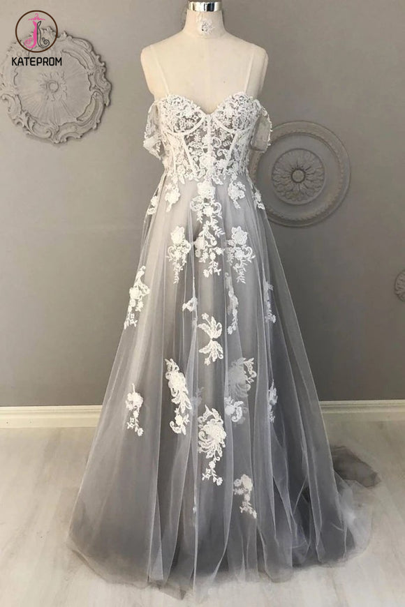 Kateprom Gray Spaghetti Straps Sweep Train Tulle Prom Dress, A Line Lace Appliqued Formal Dresses KPP1276