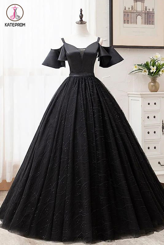 Kateprom Black Ball Gown Short Sleeves Long Prom Dresses, Floor Length Straps Formal Dresses KPP1279