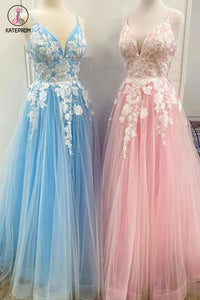 Kateprom New Spaghetti Strap Floor Length A Line Tulle Prom Dress with Lace Appliques, Formal Dress KPP1302