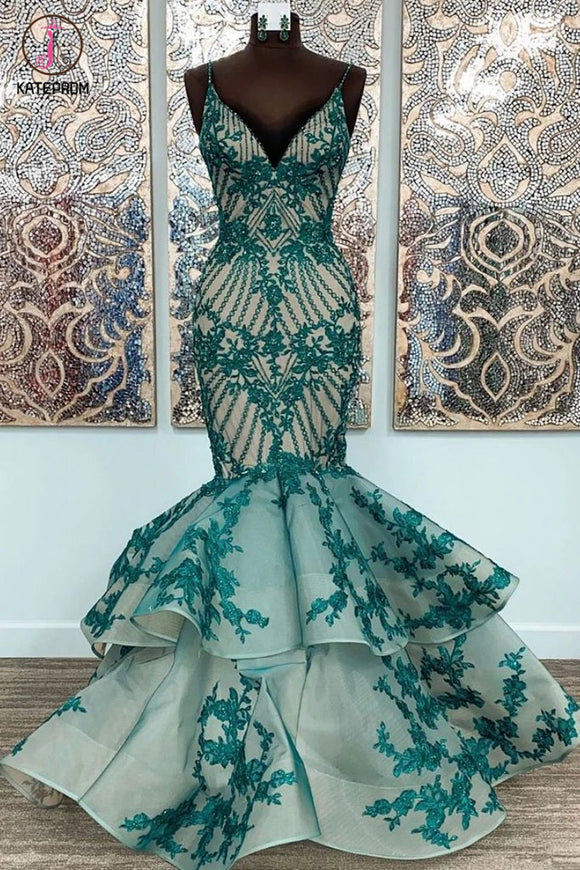 Kateprom Mermaid Straps Lace Appliqued Long Formal Dress, Unique Floor Length Prom Gown KPP1284