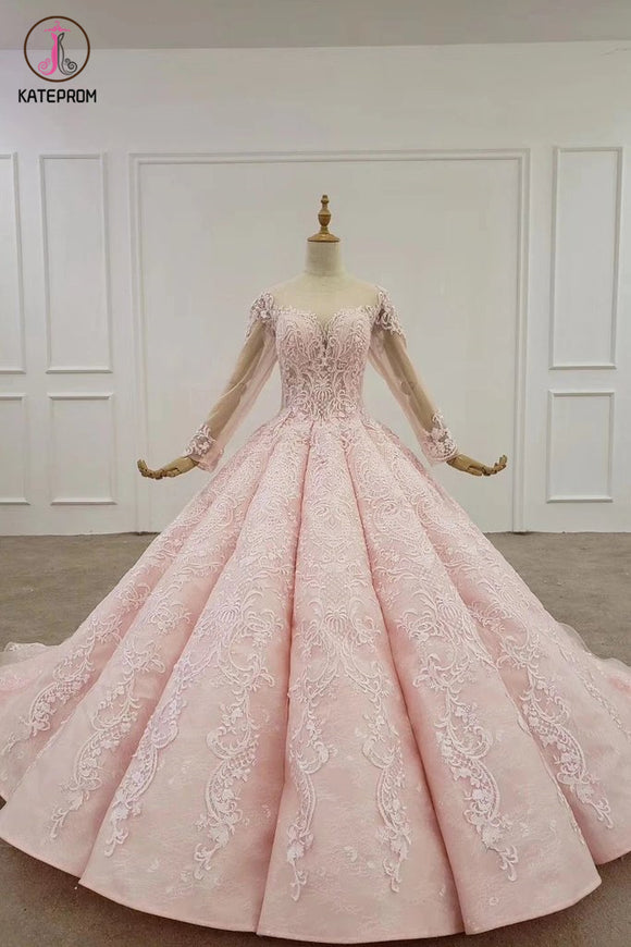 Kateprom Ball Gown Long Sleeves Lace Prom Dress, Gorgeous Wedding Dress, Quinceanera Dress KPP1285