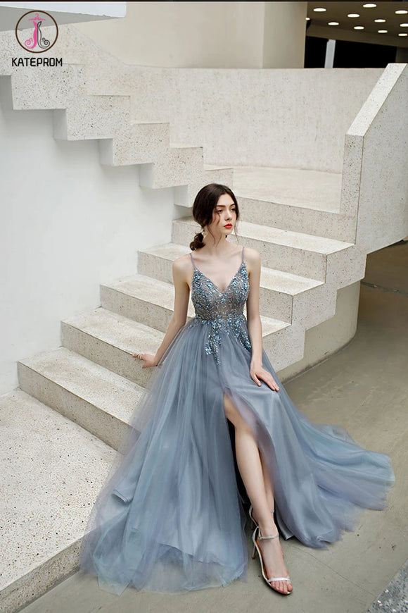 Kateprom A Line Spaghetti Straps Tulle Prom Dress with Side Slit, Long Evening Dress with Beads KPP1295