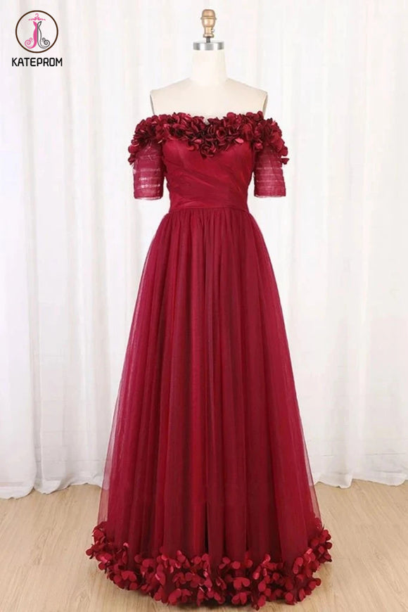 Kateprom Burgundy Off Shoulder Floor Length Tulle Prom Dress with Applique, A Line Tulle Evening Dress KPP1272