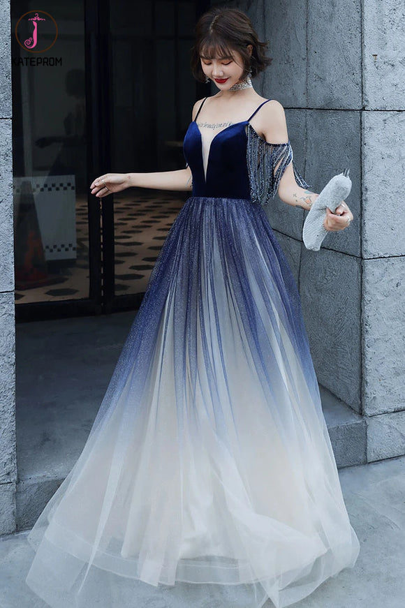 Kateprom Blue Ombre Spaghetti Straps Long Prom Dress with Tassels, Unique Evening Dress KPP1290