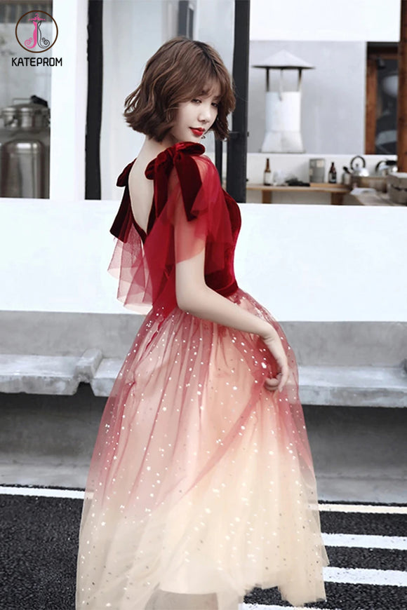 Kateprom Red V Neck Short Sleeves Tulle Sparkly Prom Dress, Homecoming Dresses KPP1291