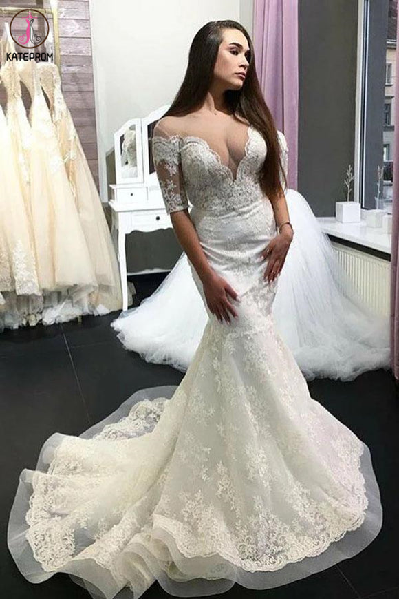 Kateprom Gorgeous Sheer Neck Half Sleeves Lace Appliques Mermaid Long Wedding Dress KPW0544