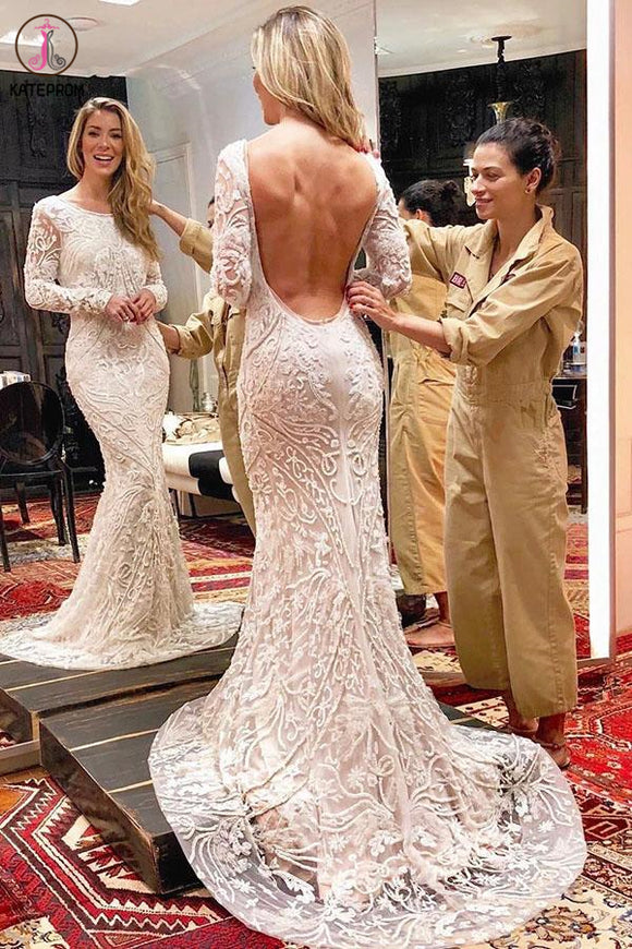 Kateprom Ivory Backless Long Sleeves Mermaid Wedding Dress, Lace Wedding Dresses KPW0547
