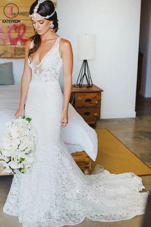 Kateprom Romantic Deep V Neck Sleeveless Lace Wedding Dress, Mermaid Wedding Dresses with Train KPW0548