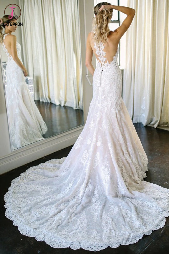 Kateprom Mermaid Round Neck Sleeveless Lace Wedding Dress with Appliques KPW0555