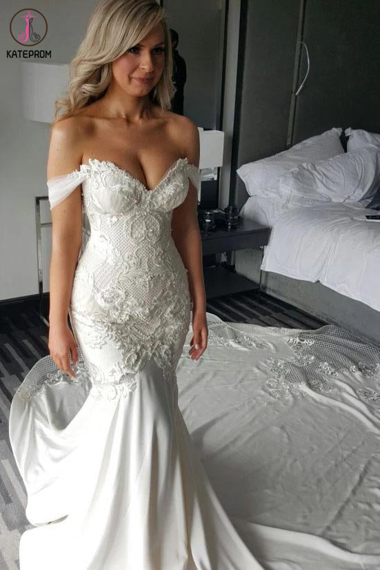 Kateprom Gorgeous Mermaid Off the Shoulder Wedding Dress with Lace Appliques Pearls KPW0556
