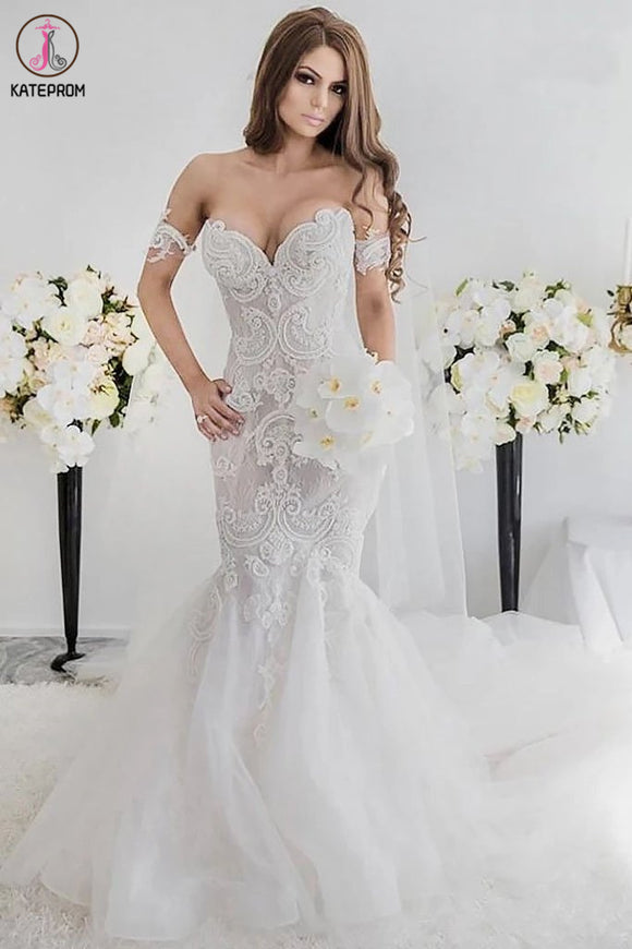 Charming Mermaid Style Off-the-Shoulder Sweep Train Lace Wedding Dress KPW0559