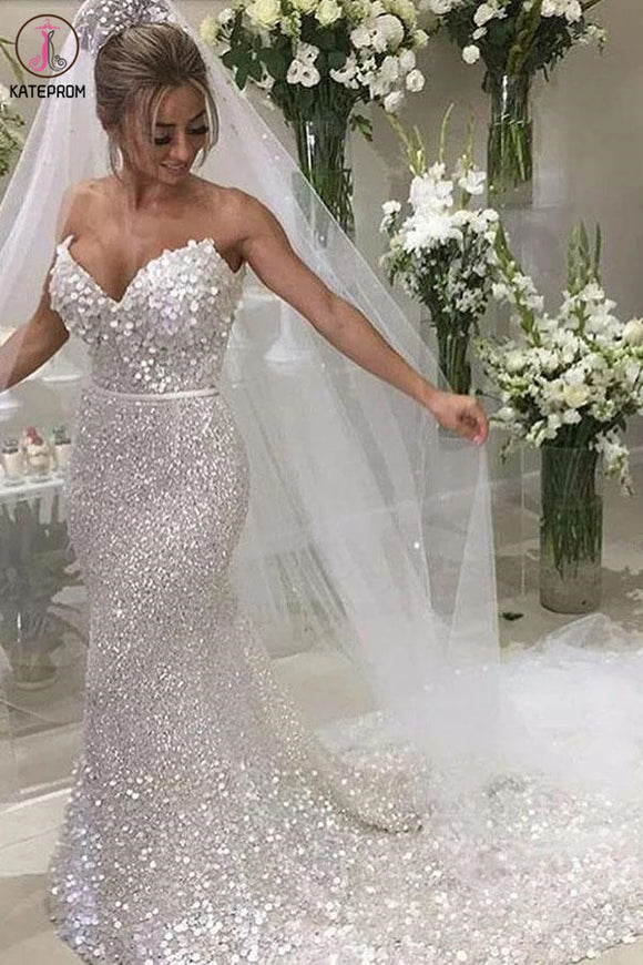 Gorgeous Mermaid Sweetheart Chapel Train Silver Sequined Wedding Dress KPW0560