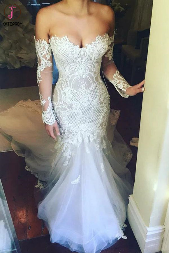 Mermaid Sweetheart Long Sleeves Court Train Tulle Wedding Dress with Appliques KPW0561