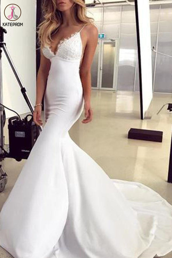 Spaghetti Straps Mermaid Wedding Dress with Lace Appliques, Sexy Backless Bridal Dresses KPW0567