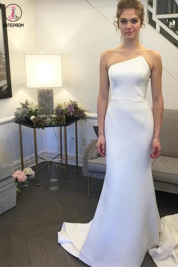 Simple Strapless Mermaid Long Wedding Dresses, Elegant Ivory Sweep Train Wedding Dresses KPW0568