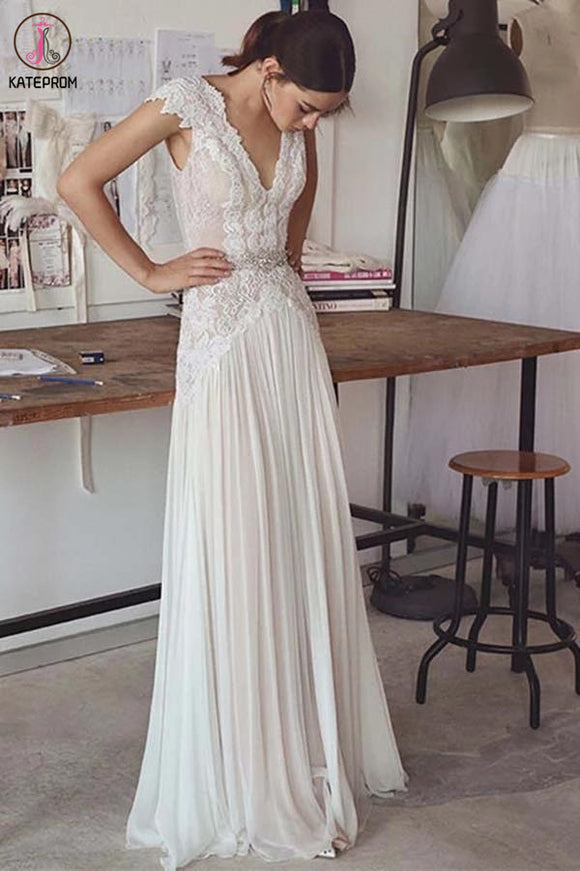 Unique V Neck Cap Sleeves Chiffon Beach Wedding Dress with Beading Waist KPW0569