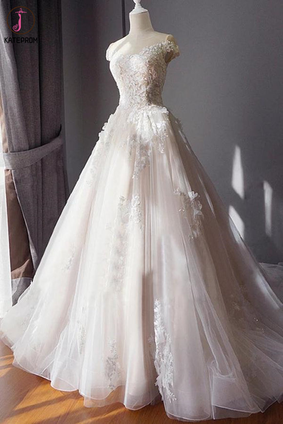Stunning Off the Shoulder Tulle Wedding Dress with Lace Applique, Bridal Dress with Long Train KPW0570