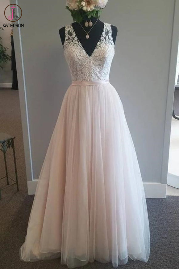 Light Pink V Neck Sleeveless Tulle Beach Wedding Dress with Lace Applique, A Line Bridal Dress KPW0571