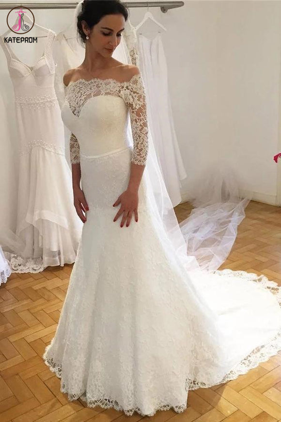 Elegant Off the Shoulder Lace Wedding Dress with 3/4 Sleeves, Mermaid Bridal Dresses KPW0572
