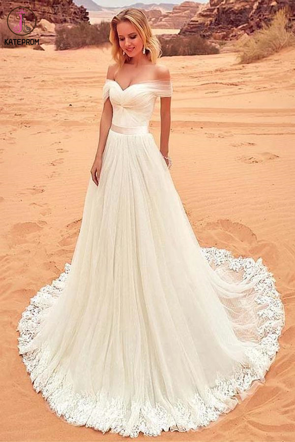Charming Off the Shoulder Tulle Long Beach Wedding Dress with Lace Appliques KPW0574