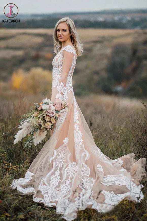 See Through Long Sleeves Boho Wedding Dress with Lace Appliques KPW0575