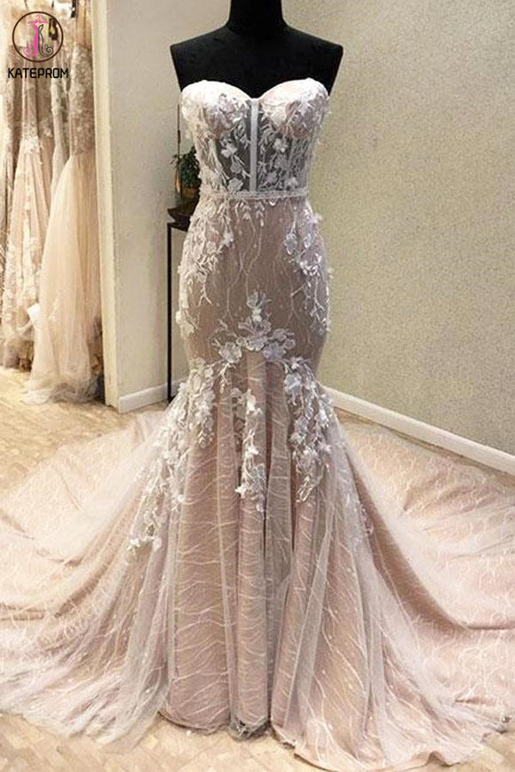 Gorgeous Sweetheart Mermaid Lace Appliqued Wedding Dresses, Strapless Bridal Dress KPW0576