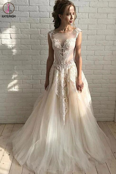 Ivory Elegant Sheer Neck Cap Sleeves Tulle Beach Wedding Dress with Lace Applique KPW0581