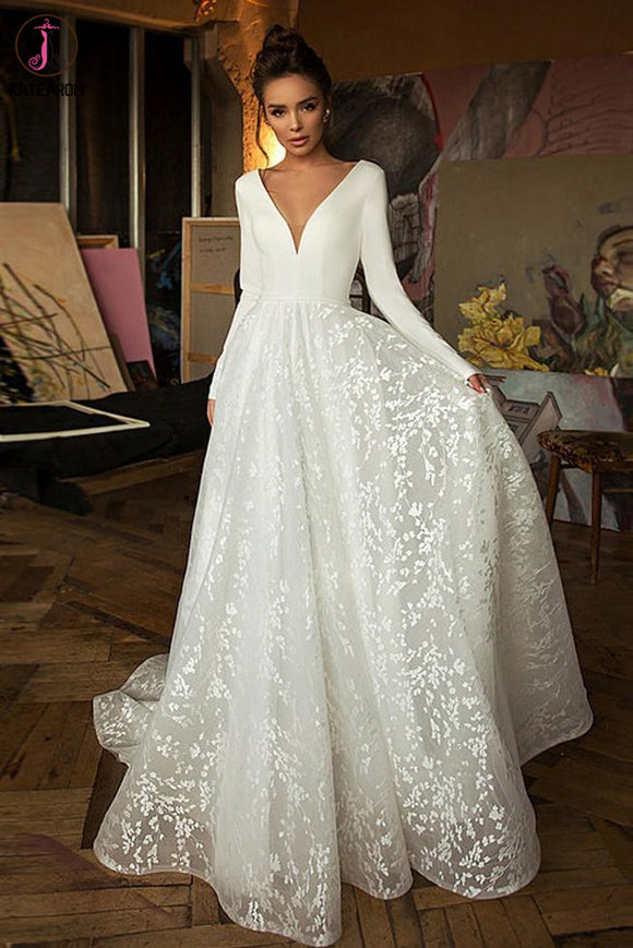 A Line Long Sleeves V Neck Beach Wedding Dress, Elegant Long Bridal Dresses KPW0587