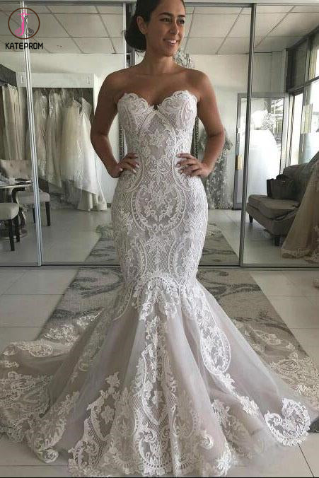 Sexy Sweetheart Mermaid Tulle Wedding Dress with Lace Appliques, Backless Bridal Dress KPW0588