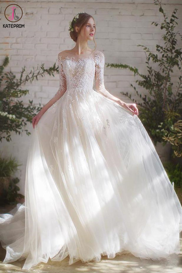 Romantic 3/4 Sleeves Illusion Neckline Lace Appliqued Wedding Dresses KPW0589